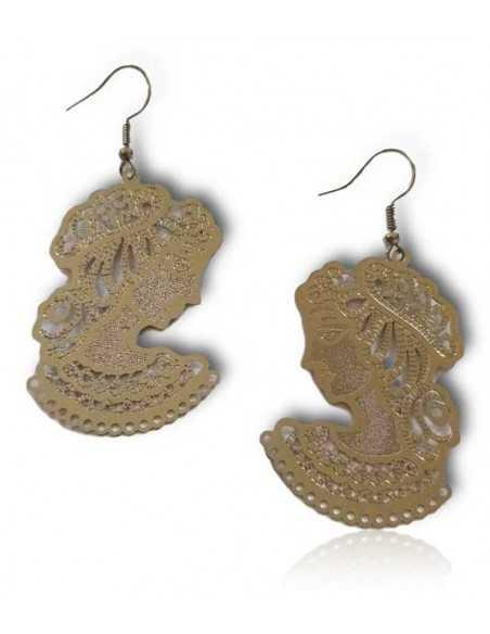 Boucles d'oreilles pendantes motif femme boheme ethnique