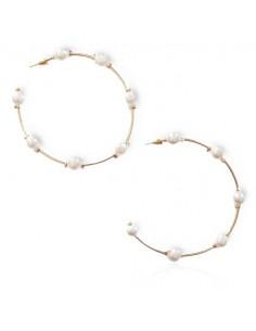 Créoles fantaisie ornées de perles