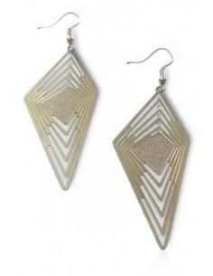 Boucles d'oreilles pendantes losange lignes géométriques