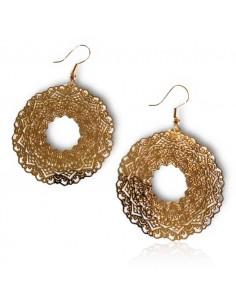Boucles d'oreilles rondes ouvertes motifs mandalas