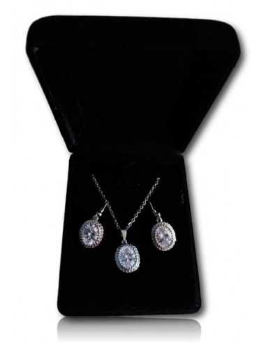 Parure en coffret collier pendentif médaillon ovale sertie et boucles