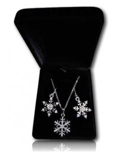 Parure en coffret collier pendentif étoile de neige et boucles