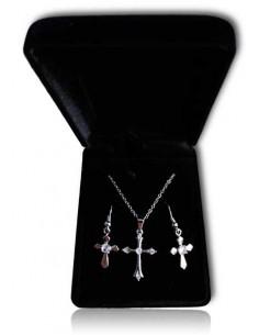 Parure en coffret collier pendentif croix design et boucles
