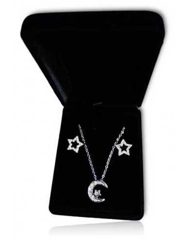Parure en coffret collier pendentif étoile sur lune et boucles