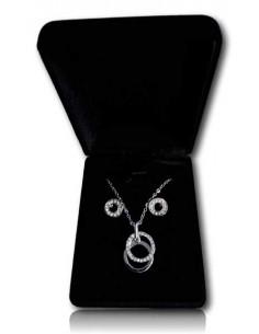 Parure en coffret collier pendentif double anneaux superposés et boucles