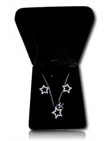 Parure en coffret collier pendentif double étoiles mobiles et boucles