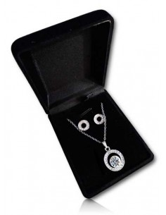 Parure en coffret collier pendentif anneau serti orné perle strass et boucles