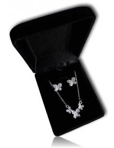 Parure en coffret collier pendentif ligne de papillons et boucles