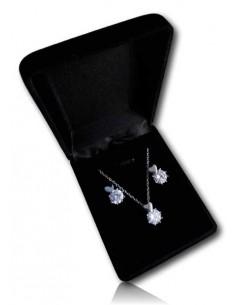 Parure en coffret collier pendentif coeur sur zirconium et boucles