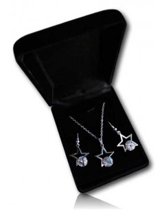 Parure en coffret collier pendentif étoile sur zirconium et boucles