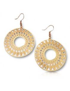 Boucles d'oreilles rondes ouvertes pendantes motifs géométriques