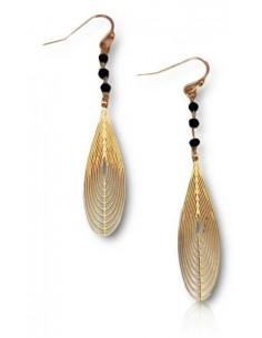 Boucles d'oreilles pendantes goutte géométrique et perles noires