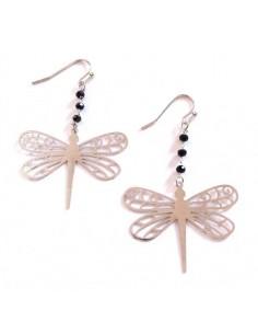 Boucles d'oreilles pendantes papillons et perles noires