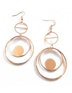 Boucles d'oreilles pendantes double anneaux géométriques