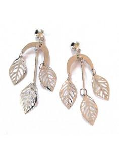 Boucles d'oreilles pampilles feuilles filigranes sur élément croissant