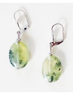 Boucles d'oreilles préhnite pierres ovales 2 cm