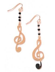 Boucles d'oreilles pendante motif note de musique et perles noires