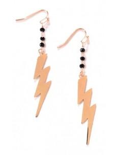 Boucles d'oreilles pendantes zigzag et perles noires