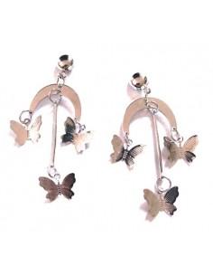 Boucles d'oreilles pampilles papillons sur élément croissant