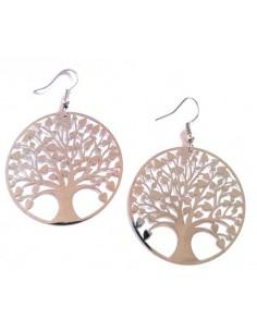 Créoles fantaisie motif arbre de vie diamètre 4 cm