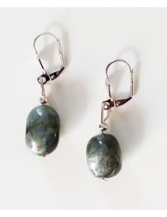 Boucles d'oreilles labradorite larkivite pierre naturelle 1 cm
