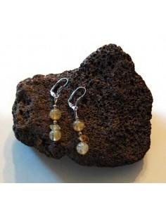 Boucles d'oreilles pierre citrine pendantes
