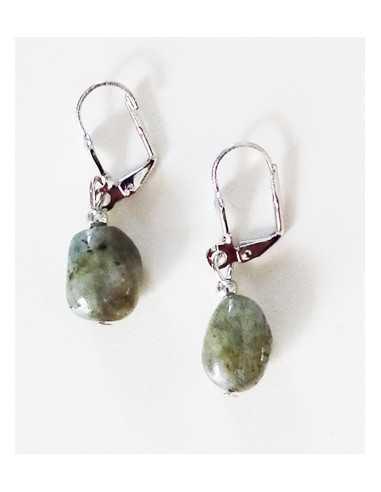 Boucles d'oreilles labradorite larkivite pierre naturelle 2 cm
