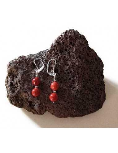 Boucles d'oreilles jaspe rouge boules pendantes