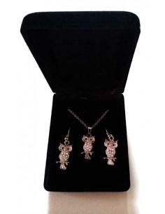 Parure en coffret collier pendentif hiboux serti de strass et B.O