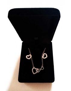 Parure en coffret collier pendentif coeur et infini enlacés de strass et B.O