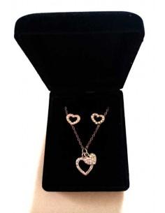 Parure en coffret collier pendentif deux coeurs sertis de strass et B.O