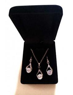 Parure en coffret collier pendentif goutte tendance incrusté d'un zirconium et B.O