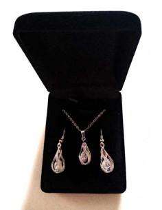 Parure en coffret collier pendentif goutte sertie incrustée d'un zirconium et B.O