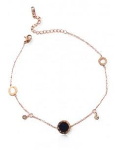 Bracelet acier inoxydable 316L doré gourmette motifs chiffres romains