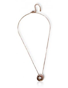 Collier acier inoxydable 316L doré pendentif anneau serti et motif chiffres romains