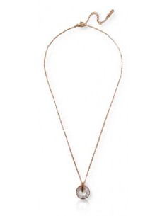 Collier acier inoxydable 316L doré pendentif anneau serti zircons blancs