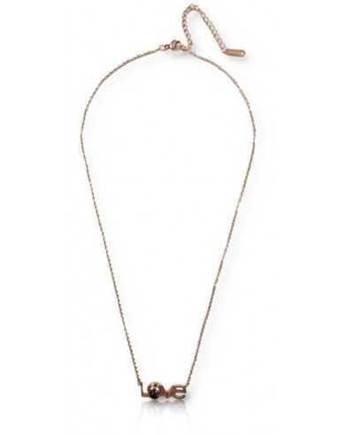 Collier acier inoxydable 316L doré pendentif love avec message caché