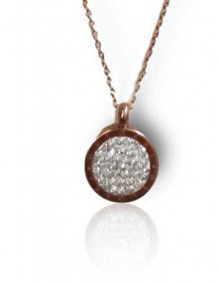 Collier acier inoxydable 316L doré pendentif médaillon serti de zirconiums