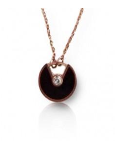 Collier acier inoxydable 316L doré pendentif anneau noir et zircon central