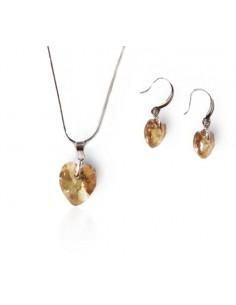 Parure bijoux Swarovski collier pendentif coeur + boucles