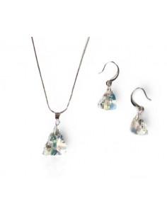 Parure bijoux Swarovski collier pendentif triangle + boucles