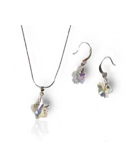 Parure bijoux Swarovski collier pendentif trèfle + boucles