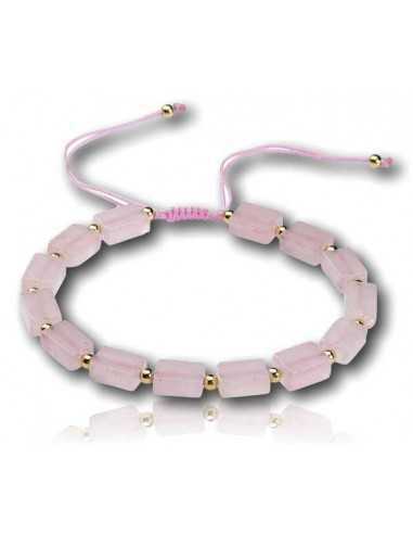 Bracelet pierre quartz rose ajustable