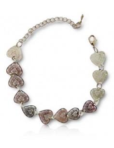 Bracelet fantaisie pampilles motifs coeurs filigranes