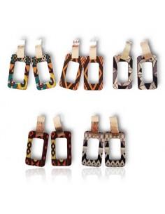 10 paires de boucles d'oreilles bois motifs graphiques fantaisie