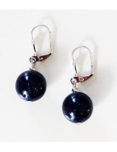 Boucles d'oreilles pierre de soleil noire boules 1.2 cm