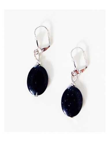 Boucles d'oreilles pierre de soleil noire ovales 1.5 cm