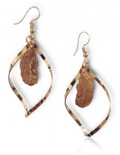 Boucles d'oreilles créoles incurvées pendentif plume ethnique