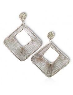 Boucles d'oreilles fantaisie créoles carré pendantes
