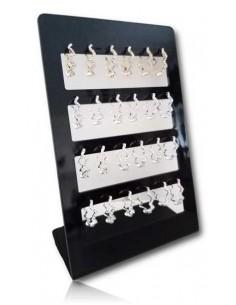 12 paires de créoles avec ondulations serties sur présentoir